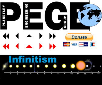 ( Index ) PEGE - Planetary Engineering Group Earth  Since 1991 expression of Infnitism, to develop the potential of the civilization on planet earth full and to eliminate the dangers arising from an incorrect assessment of the situation.